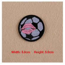 1PC Patches For Clothing Embroidery Football with Lip Seal 5.0x5.0cm Patches For Apparel Bags DIY Accessories(China)