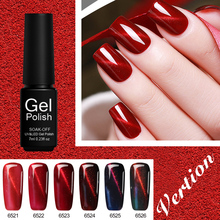 Verntion 6 Colors Lucky Magnetic Red Cat Eye Gel Polish Semi Permanent Gel Varnish Long Lasting Colored Gel Nail Polish(China)
