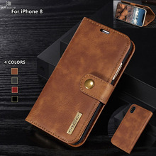 DG Ming Flip Case Luxury Genuine Leather Multi Folded Wallet Cover for Iphone 8/X Magnetic Hand Bag Case 2 in 1 Coque Fundas(China)