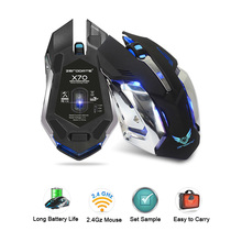 zerodate x70 Wireless luminous cordless ergonomic bloody glowing wired gaming mouse with led rgb for overwatch computer laptop(China)