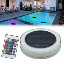 RGB LED Underwater Light Solar Power Pond Outdoor Swimming Pool Floating Waterproof Decorative LED Light With Remote Control(China)