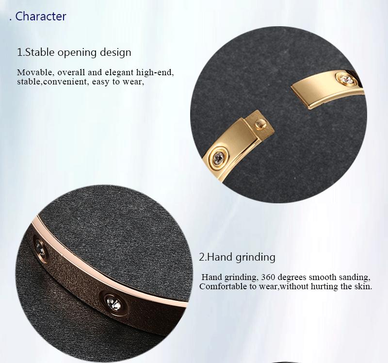 Trendy Rose Gold Love Bracelets Bangles Women Gold Color Stainless Steel Charming CZ Cuff Bracelet Lovers Luxury Brand Jewellery 4