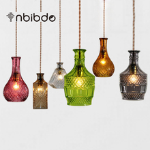 Vintage Pendant Lights Clear Glass Hanging Antique Bottles Pendant Lamp E27 for Dinning room Home Decor Planetarium(China)