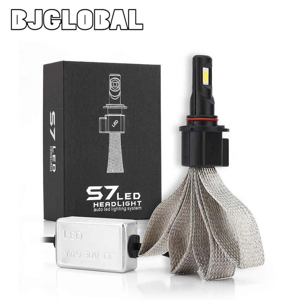 BJGLOBAL Universal 9005 COB chip 60W 6400lm 6000K S7 HB3 turbo Headlight LED DRL Driving lamp front waterproof Fog Bulb