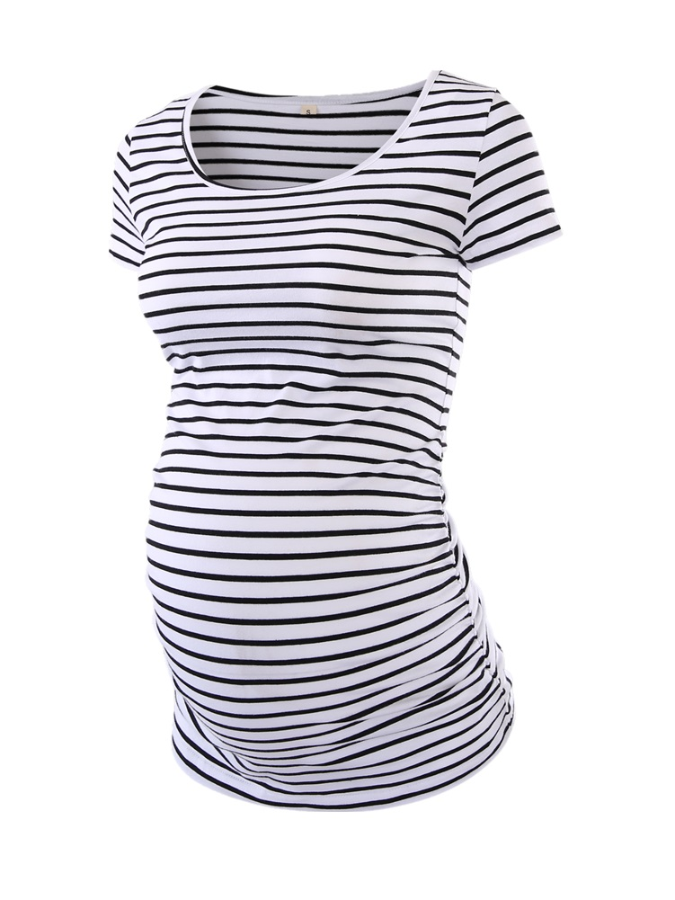 Tops T-Shirt Pregnancy-Clothes Ruched Mama Striped O-Neck Classic-Side Womens Summer title=