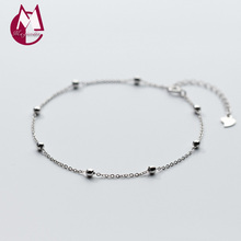 925 Sterling Silver Anklets For Women Simple Round Beads Anklets Summer Beach Barefoot Accessories Gift Fashion Jewelry S1939(China)