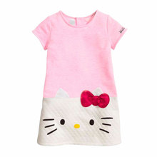 6 Color Hello Kitty Dresses for Girls Clothes Baby Girls Dress Christmas Dress for Girl Princess Dress Kitty Children Clothing(China)
