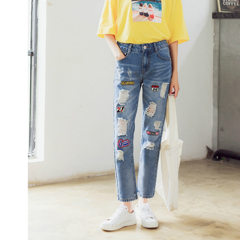 Kesebi 2017 Spring Summer New Hot Women Loose Casual Hole Washed Patchwork Pencil Pants Jeans Female Ripped Vintage TrousersОдежда и ак�е��уары<br><br><br>Aliexpress
