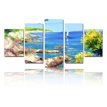 5 Piece Art Set Island Scenery Seascape Landscape 100% Hand painted Oil Painting On Canvas Top Home Decoration paint