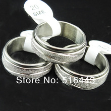 Hot Selling 20pcs Frosted Stainless steel Double Layer Spin Rotate Mens Womens Silver Rings Wholesale Lots A-309