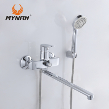 MYNAH Russia free shipping Bathroom faucet shower faucets bath mixer Shower system Tropical Shower Shower rack with mixer copper(China)
