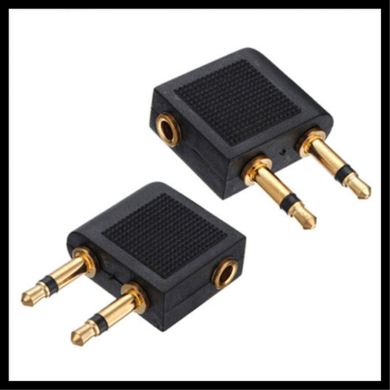 100pcs Airplane Travel Headphone Earphone Jack Audio Adapter, 3.5 to 2 x 3.5mm<br>