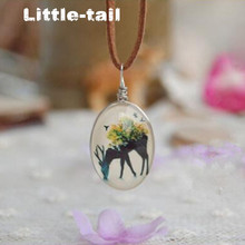 2017 Handmade leather chain sided glass Cabochon forest deer necklaces & pendants for women elegant jewelry accessories