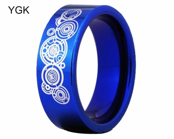 YGK Brand 8MM Blue Color Pipe Doctor Who Design Men's Comfort Tungsten Wedding Ring