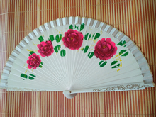 Vintage carving and painting gift chinese craft fan spanish wood style(China)