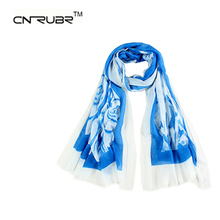 New Women Polyester Floral Printed Designer Scarf Autumn Winter Gradient Print Flower Casual Silk Scarf Long Wrap Pashmina(China)