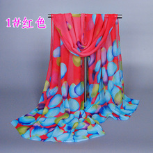 Factory price chiffon Silk Scarf  printe floral Scarf flower Super Star Style Shawl hijab Scarves and Stoles Scarf XQ153