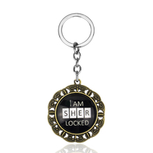 Detective TV SHOW Sherlock Holmes I AM SHER LOCKED keychains Glass Dome Black Round Key Chain For Fans(China)