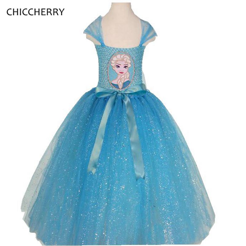 Sky Blue Children Girl Clothes Elsa Princess Dress Toddler Cosplay Costume Baby Party  Lace Dresses Vestido Menina Kids Outfits<br><br>Aliexpress