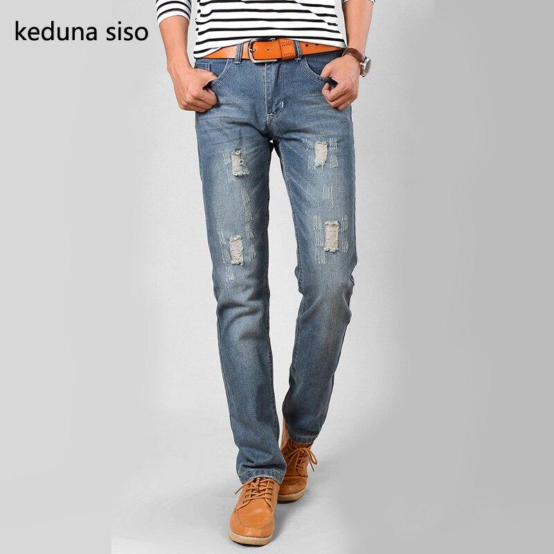 Fashion Brand Design Men Jeans Vintage Light Blue Denim Straight Hole Ripped Jeans For Men Represent Pants homme vaqueros hombreОдежда и ак�е��уары<br><br><br>Aliexpress