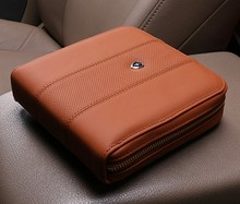 Free Shipping Genuine Leather Car CD bag Fashion Car DVD Disk Card Case Holder Bag 20 CDs Inside Carry Case cd storage box