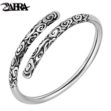 ZABRA Real Solid 999 Sterling Silver Adjustable 4mm Vintage Buddha Open Cuff Bracelet Bangle Men Women Punk Handmade Men Jewelry(China)