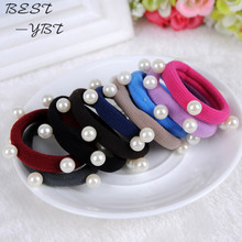 1 Pcs Korean Fashion Candy Color Seamless Beaded Hairband Girls Pearl Elastic Hair Bands Women Hair Acessories Wholesale