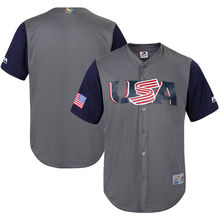 MLB Youth USA Baseball Baseball Gray/Navy 2017 World Baseball Classic Cool Base Replica Team Jersey(China)