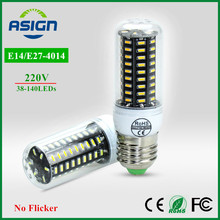 LED Bulb Real No Flicker/Strobe Smart Power IC Design LED Corn Bulb High Lumen 4014 SMD E27 E14 220V long Life LED Spot light
