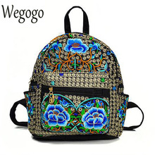 Vintage Women Backpack Canvas Backpacks Girls Female Travel Schoolbags Rucksack With Flower Embroidered Mochila Sac A Dos Bolsa(China)