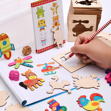 Children learn paint graffiti painting coloring kit painted creative template toys montessori educational wooden toys for kids