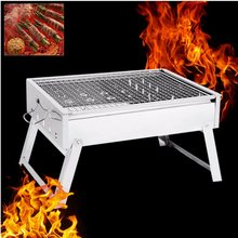Portable Stainless Steel Grill Stove Rack Pan Roaster Outdoor Charcoal Barbecue Home Oven Set Cooking Picnic BBQ Camping