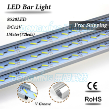 5pcs 100cm 18W 8520 SMD 72leds non waterproof DC 12V Rigid Strip Cabinet Bar Light white/warm white With U/V groove shell