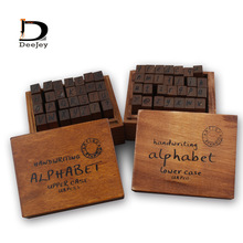 Lower case and Upper case Letter Alphabet Stamp Box Handwriting Stamp Antique Wooden Rubber Stamp with case 56 characters lot