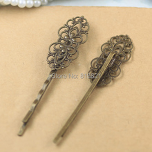 15x33mm Blank Bobby Pins Bases Settings Filigree Flower pads Hair Clip Hairpins Crafts DIY Findings Silver/ bronze tone