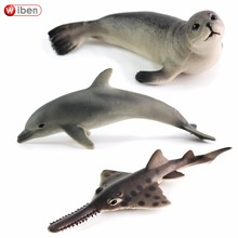 Wiben Hot toys Sea Life Fur seal Oceanic dolphins Sawfish Simulation Animal Model Action & Toy Figures Marine Gift for Boys(China)