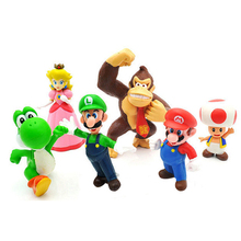 4-7cm Hot Sale Super Mario Bros Luigi donkey kong Action Figures youshi mario Christmas Gift(China)