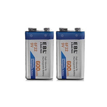 Hot-selling 2pcs/lot 600mAh Li-ion 9 V Rechargeable Batteries For Smoke detectors Wireless Microphones free shipping