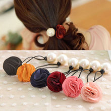 2 PCS Fashion Women Lady Girl Pearl Flower Hairband Rope Scrunchie Nice Ponytail Holder Hair Band Accessories