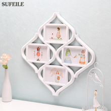 SUFEILE 1PC Rhombus Combination Frame 4 photos frame Plastic material Family Bedroom decoration Picture Frame on wall SI3D5