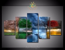 5 Pieces/set Four Seasons Tree Wall Art Paintings Picture Paiting Canvas Paints Home Decor Printed Painting Wall Art Picture