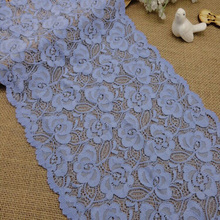 Width 22.5 cm flower Blue stretch lace trim fo cloth and panties bra design elastic lace trim fabric-TL