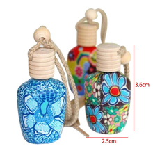 Floral Art Printed Hanging Car Air Freshener Perfume Diffuser Fragrance Bottle Empty Perfume Bottle Travel Scent Pump Spray Case(China)