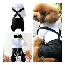 Dog Clothes Spring And Summer Suspenders  Pet Wedding Dress Suit For Dogs Small Dog Jumpsuits & Rompers