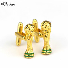 MQCHUN Gold Color Football World Cup Trophy Cufflinks Male French Shirt Cuff Links For Men's Wedding Jewelry Gift High Quality