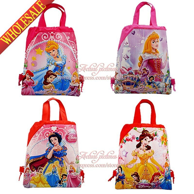 Mixed 4 Styles,12PCS Princess 2 Non-woven fabrics School Cartoon Drawstring Backpack bags,Party gift,Kids favor<br><br>Aliexpress