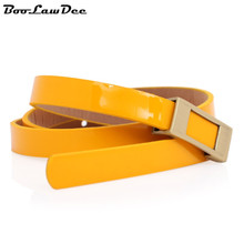 BooLawDee simple golden square buckle extra thin belt female women's fashion waistband orange pink red yellow white A41058