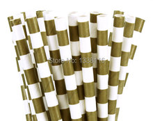 Free Shipping 200pcs Gold Stripe Rugby Paper Straws,Party Supplies Paper Drinking Straws wholesale online(China)