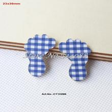 "(100pcs/lot) 30mm Baby Shower Baby Foot-Blue Checked  Fabric Topper Wood Back Bulk 1.2""-CT1228B"