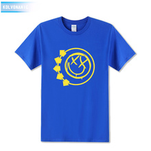 Blink 182 Rock Band Smiley Face Funny Print T Shirt Men Short Sleeve Punk Rock Logo Personalized Roll Pop Music Printed T-Shirt(China)